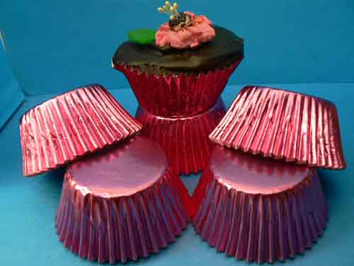 Pink Foil Patty Cups - large size pkt 100