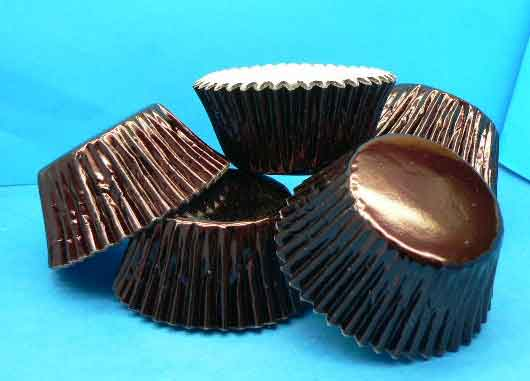 BROWN Foil Patty Cups - Mini Muffin Size (pkt 100)