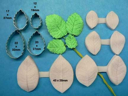Rose leaf 3 veiner - 6 cutter set