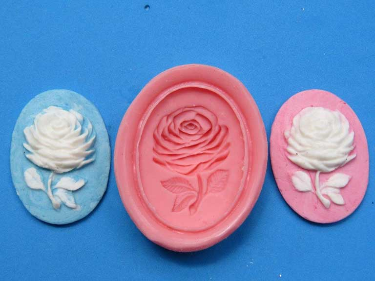 Cameo Wedgwood Rose Mould 38mm x 27mm