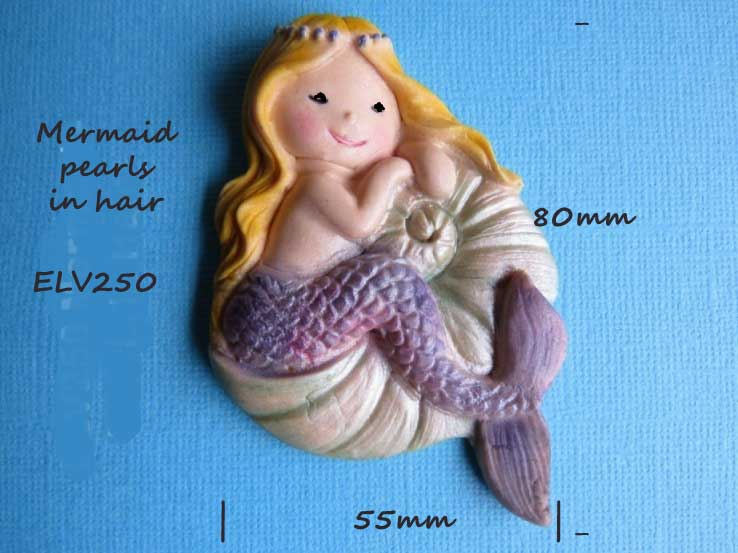 Mermaid mould (pearls in her hair) 55mm wide