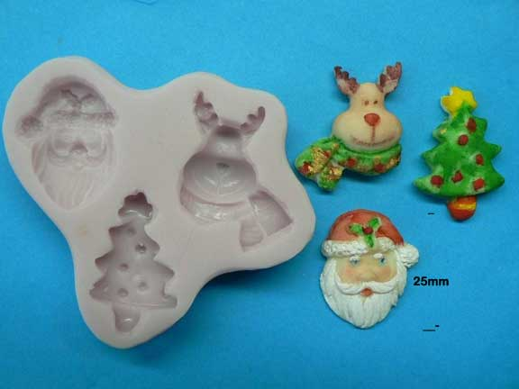Santa, Rudolf and tree mould