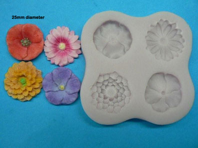 Small flowers mould (poppy, daisy, dahlia & violet)