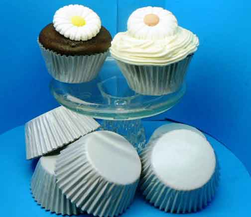 100 White Foil Patty Cups Large Size