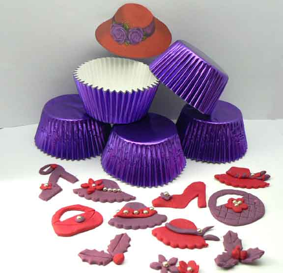500 PURPLE Medium Size Foil Patty Cups