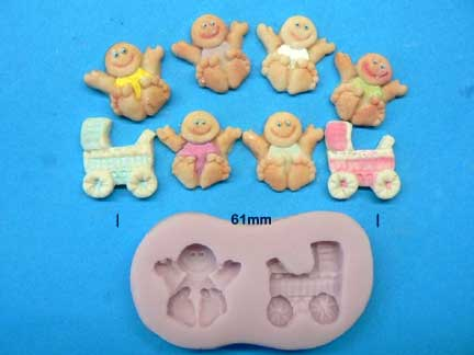 Tiny Baby and Pram Mould