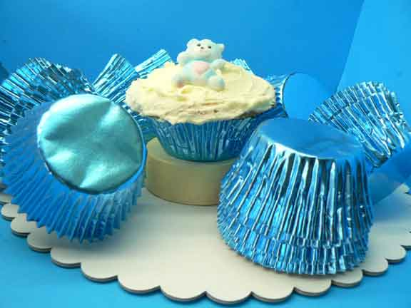 Foil Baking Cups Blue Med. (Pkt 100)