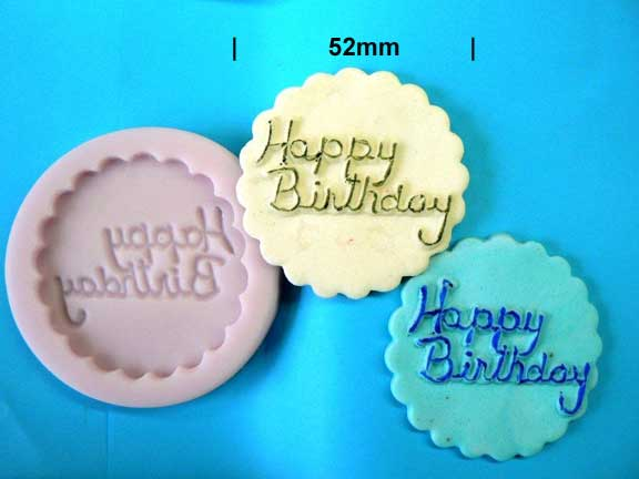 Happy Birthday Plaque Mould 52mm