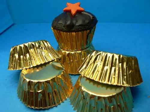 Gold Foil Patty Cups Mini Muffin Size pkt 100