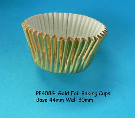 Baking Cups (patty pans) Med gold pkt 100