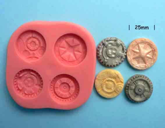 Steampunk Mould - cogs, wheels, compass