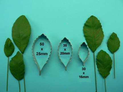 Combination Leaf Cutters (Long) set of 3